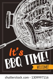 Barbecue vector hand drawn party poster with sausages, meat and chicken on grill. Sketch bbq design with typography on chalkboard