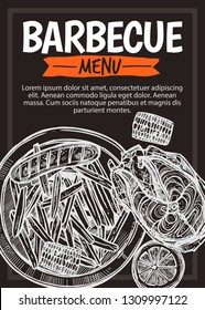 Barbecue vector hand drawn party poster with grill food fish, french fries, lemon, corn, sausage. Sketch bbq design with typography on chalkboard