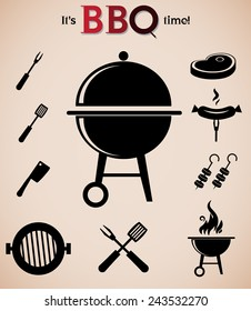 Barbecue vector icon isolated on white background.