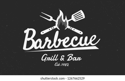 Barbecue vintage logo. Logo of Grill and Bar with fire, grill fork and spatula. BBQ logo template. Grunge texture. Vector illustration