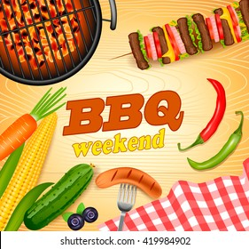 barbecue weekend banner with vector illustration of fresh vegetables, shish Kebab and BBQ grill