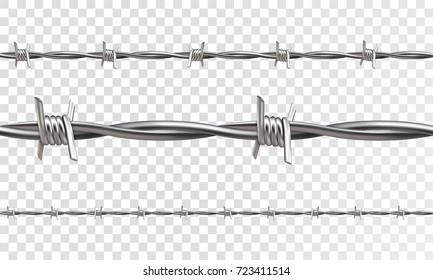 Barbed seamless on a transparent background. 3d realistic vector