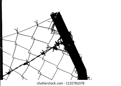 Barbed wire background. Vector fence illustration isolated on white. silhouette of the barbed wire. vector of wired fence.