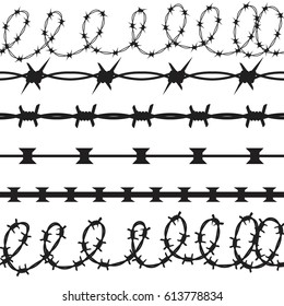 Barbed Wire Black Silhouettes Vector set.