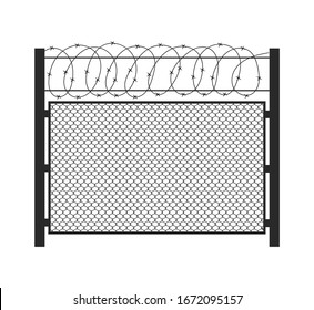 Barbed wire fence silhouette isolated of white background. Concept guarded area. Vector stock illustration.