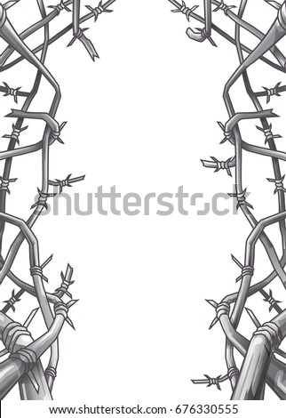 Barbed Wire Frame Design Vector Stock Vector (Royalty Free ...