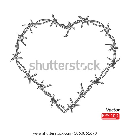 Barbed Wire Frame Heart Isolated On Stock Vector (Royalty Free ...