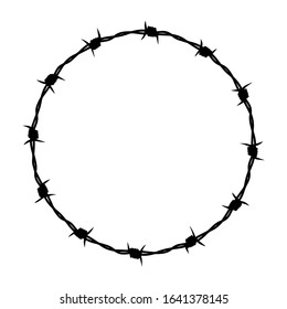 Barbed wire graphic sign. Frame circle from barbed wire. Symbol of not freedom. Vector illustration