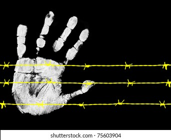 Barbed wire and hand, on black background, vector illustration