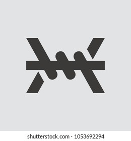 barbed wire icon isolated of flat style. Vector illustration.