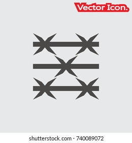 Barbed Wire icon isolated sign symbol and flat style for app, web and digital design. Vector illustration.