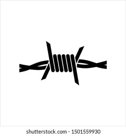 Barbed Wire Icon, Sharp Barbed Wire Vector Art Illustration