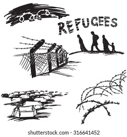 Barbed wire on white background, silhouette of migrants family and word refugees in scetch style