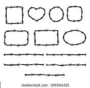 Barbed wire pattern and flame vector set
