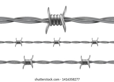 Barbed wire. Repetitive, Seamless Protective Wire Elements. Vector Illustration. Realistic gradient mesh.