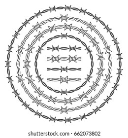 Barbed wire rings vector set