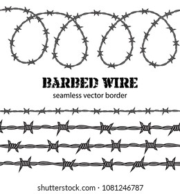 Barbed wire seamless border. Desighn for political poster. Protest against violence and injustice, struggle for freedom, fight for human rights concept.