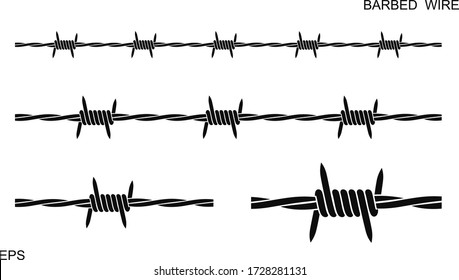 Barbed wire set. Isolated barbed wire on white background. eps