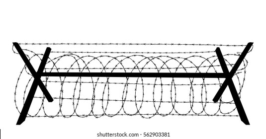 Barbed wire silhouette isolated on white background vector illustration