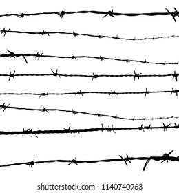 Barbed wire silhouettes on white background, vector illustration