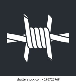 Barbed wire vector sign isolated on dark background