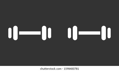 Barbel, Dumbbell Gym Icon Logo Template Illustration Design. Vector EPS 10. Barbell / Dumbell Gym Icon Vector.Barbell weight training equipment flat vector icon for exercise apps and websites