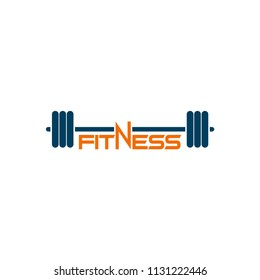 barbel logo, fitness, gym icon vector