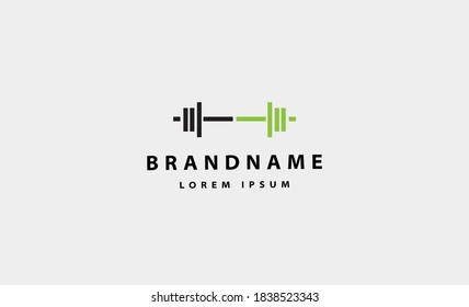 barbell bodybuild fitness logo design vector