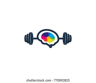 Barbell Brain Icon Logo Design Element