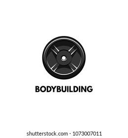 Barbell disk icon. Bodybuilding logo label. Sport Training, Fitness. Disk weight. Vector illustration