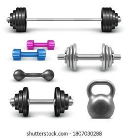 Barbell, dumbbells and kettlebell set. Fitness gym and bodybuilding  weight equipment set. Sport workout 3d realistic vector illustration isolated on white background