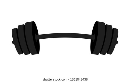 Barbell icon isolated on white background. Gym logo design element. Black barbell for gym, fitness and athletic center. Vector