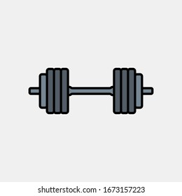 Barbell icon logo design. weight training equipment symbol.