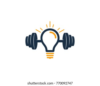 Barbell Idea Icon Logo Design Element