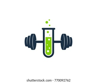 Barbell Lab Icon Logo Design Element