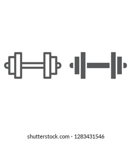 Barbell line and glyph icon, sport and equipment, dumbbell sign, vector graphics, a linear pattern on a white background, eps 10.