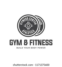 barbell logo vector design template. Logo for fitness, gym. Emblems, labels, badges, logos. Monochrome vector isolated. Flat design. Modern. EPS 10.