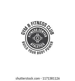 barbell logo vector design template. Logo for fitness, gym. Emblems, labels, badges, logos. Monochrome vector isolated. Flat design. Modern. EPS 10.