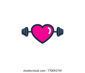 Barbell Love Icon Logo Design Element