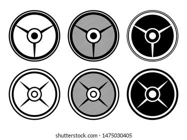 Barbell Plates Bundle Vector Illustration Silhouette