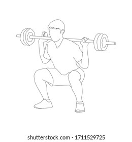 Barbell Squat excercise workout black outline on white background Weightlifting, bodybuilding : Logo modern concept vector