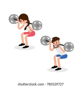 Barbell squats exercise, vector.