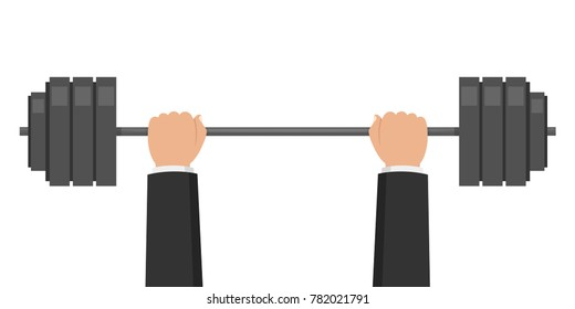Barbell weight. Hands businessman lifted barbell weight. Weightlifting training. Vector illustration.