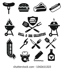 Barbeque and grill emblems collection. Vector illustration.