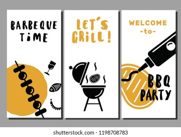 Barbeque and grill flyers. Set of templates. Idea for bbq party, restaurant promotion