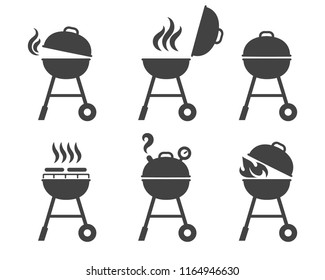 Barbeque grill icons. Vector bbq and grilling symbols, brazier and roaster silhouettes