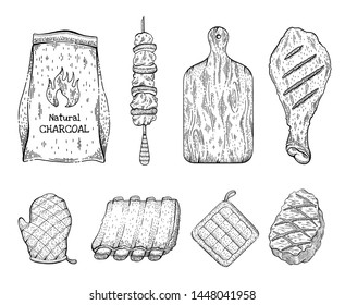 Barbeque grill sketch icon set. Beef steak kebab chicken leg coal bag cut board glove pork rib panholder. Vintage engraved line vector illustration isolated on white background. BBQ party collection