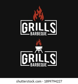 Barbeque logo design. grill food, fire, and spatula concept template Vector flat illustration