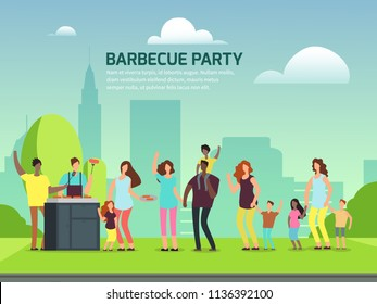Barbeque party banner design. Cartoon character international families in park vector illustration