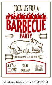 Barbeque party invitation card with grilled pork.